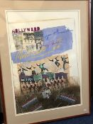 James Hussey (British, 20th Century), Monet & Hollywood, signed, mixed media, 72 by 52cm, framed (2)