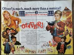 Movie poster for Oliver. Winner 6 Oscars version. Printed in England by W.E.Berry Ltd, Bradford.