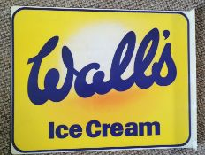 Advertising Interest. Walls Ice Cream sign. Original plastic sign with fold at edge for securing