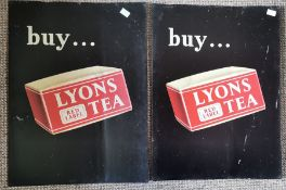 Advertising interest. 2 x tin signs for Lyons Tea.  Printed by Tyneside Tinprinters Ltd,