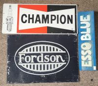 Automobilia Advertising interest. 3 advertising signs of motor interest. Champion Sparkplug metal