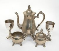 A plated three piece coffee service and two goblets (5)