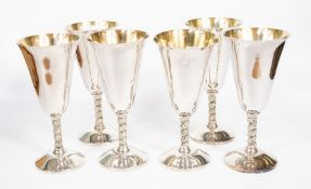 Six Spanish plated goblets, spiral stems