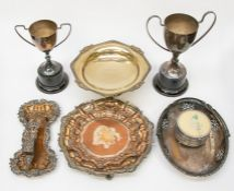 A collection of old Sheffield plated items, including an early 19th Century card tray, a salver,