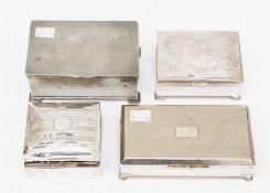 A collection of cigarette boxes comprising one in silver, AF, a white metal Chinese version, a