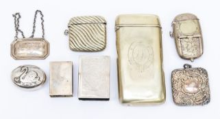 An American sterling silver match box holder stamped SHEVER & CO., STERLING; a modern silver