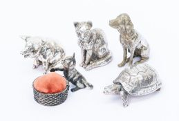 A group of various silver plated animals to include: Royal Hampshire Cat, Pig and Tortoise, all