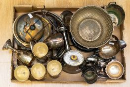 A box of assorted silver plated items including goblets, coffee pot, sauce bots, cyphen holder,