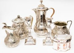 A collection of old Sheffield plate, comprising 18th Century tea caddy, a pair of candlesticks, a