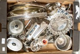 A collection of assorted silver plated ware, including trays, part tea sets, candlestick, tea