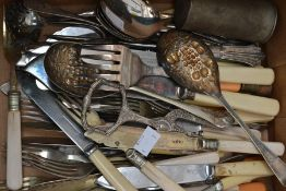 A collection of silver plate and EPNS, bone handled flatware including berry spoon servers, toast