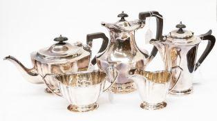 A silver plated four piece tea and coffe service, comprising teapot, milk jug, sugar bowl, coffee