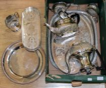 A large collection of silver plated ware, comprising tea and coffee service, serving tray, punch