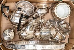 A collection of silver plate, including tray, tea set, biscuit barrel, plus others (Q)