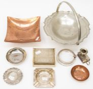 A collection of metal and silver items including ashtrays, pewter bowl, copper bowl, cigarette
