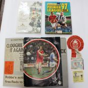 A collection of assorted football memorabilia to include: an incomplete Merlin's Premier League 97