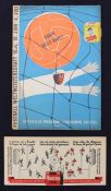 World Cup: A 1954 World Cup Final programme, Hungary v. Germany, 4th July 1954, cigarette sticker to