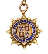 Football Medal: A 9ct gold and enamel 'Gresley Charity Cup Competition' medal, inscribed to