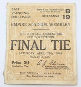 F.A. Cup Ticket: A 1946 F.A. Cup Final ticket, Derby County v. Charlton Athletic, 27th April 1946,