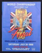 World Cup: A 1966 World Cup Final programme, England v. West Germany, 30th July 1966, no writing,
