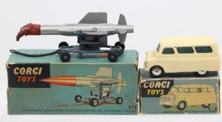 Corgi: A boxed Corgi Toys, Bedford 'Dormobile' Personnel Carrier, 404, white body, vehicle in need