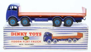 Dinky: A boxed Dinky Toys, Foden Flat Truck with Tailboard, 903, blue cab with orange flatbed, heavy