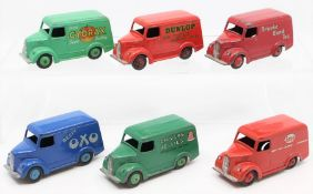 Dinky: A collection of five unboxed Trojan Vans, comprising: Beefy OXO; Brooke Bond Tea; Cydrax;
