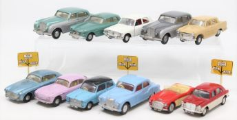Spot-on: A collection of eleven Tri-ang Spot-on, unboxed vehicles, playworn, to comprise: Bentley