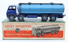Dinky: A boxed Dinky Supertoys, Foden 14-Ton Tanker, 504, blue two-tone livery, general wear to