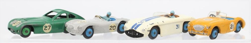 Dinky: A collection of four Dinky Toys, playworn racing cars, to comprise: Austin-Healey #21, 109;
