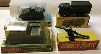 Dinky: A collection of assorted Dinky military vehicles to include: Striker Anti-Tank Vehicle 691,