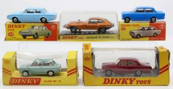 Dinky: A collection of five assorted boxed Dinky Toys to comprise: Ford Consul Corsair, 130, light