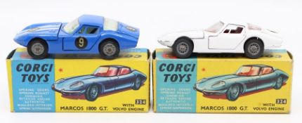 Corgi: A boxed Corgi Toys, Marcos 1800 G.T. with Volvo Engine, 324, blue, white stripes, No. 9,