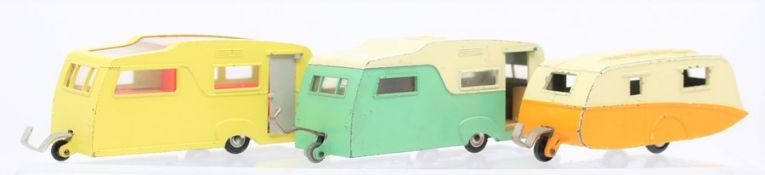 Dinky: A collection of three unboxed Dinky Toys caravans to comprise: 190; Four-Berth Caravan 188;