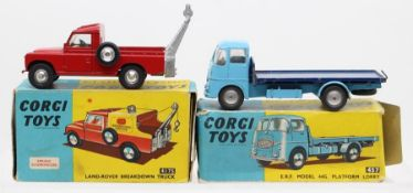 Corgi: A boxed Corgi Toys, Land-Rover Breakdown Truck, 417S, missing rear canopy, slight paint