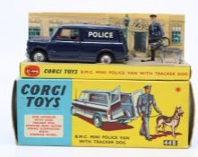 Corgi: A boxed Corgi Toys, B.M.C. Mini Police Van with Tracker Dog, 448, appears complete with inner