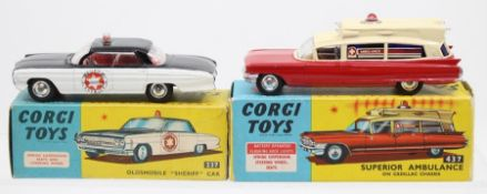 Corgi: A boxed Corgi Toys, Oldsmobile Sheriff Car, 237, black and white two-tone body,