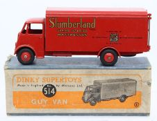 Dinky: A boxed Dinky Supertoys, Guy Van, Slumberland Spring Interior Mattresses, 514, red livery,