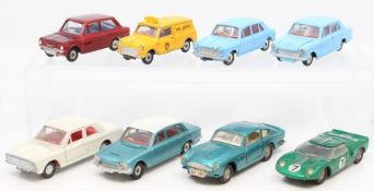 Dinky: A collection of eight unboxed, playworn, Dinky Toys vehicles to comprise: Hillman Imp; AA