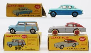 Dinky: A collection of three boxed Dinky Toys to comprise: A.C. Aceca Coupe, 167, two-tone grey