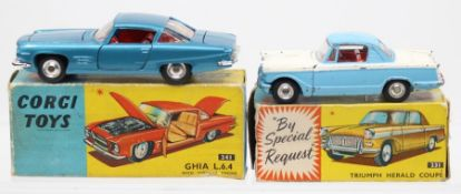 Corgi: A boxed Corgi Toys, Ghia L.6.4 with Chrysler Engine, 241, metallic blue body, small paint