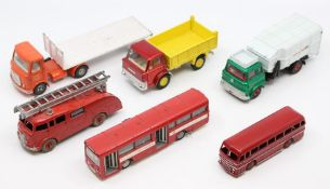 Dinky: A collection of six unboxed, playworn, Dinky Toys vehicles to comprise: AEC Articulated Lorry
