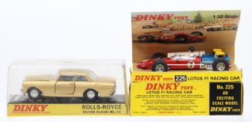 Dinky: A boxed Dinky Toys, Lotus F1 Racing Car, 225, #7, red livery, vehicle appears good, box