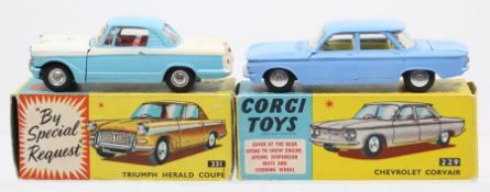 Corgi: A boxed Corgi Toys, Chevrolet Corvair, 229, blue body, slight paint chips, body generally