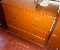 A late Victorian mahogany chest of drawers, circa 1890, later painted, slight oversailing top