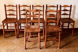 A set of eight 19th century oak and pine farmhouse kitchen chairs, oak rail backrest to back