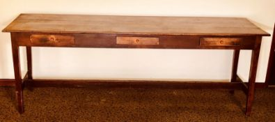 A 19th Century oak and pine farmhouse table, rectangular oak top above three single frieze