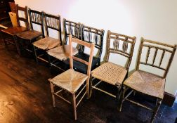 A set of various 19th century spindle back chairs; others. (8)
