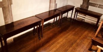A set of four similar George IV mahogany console tables, circa 1825, rectangular curved edge top