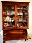 A George III mahogany wall fitted bookcase bureau, circa 1790, moulded pediment on apair of